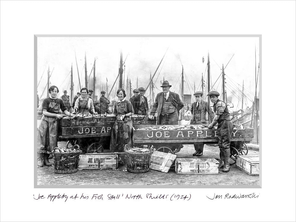Joe Appleby At His Fish Stall North Shields 1912 Mounted Fine Art Print