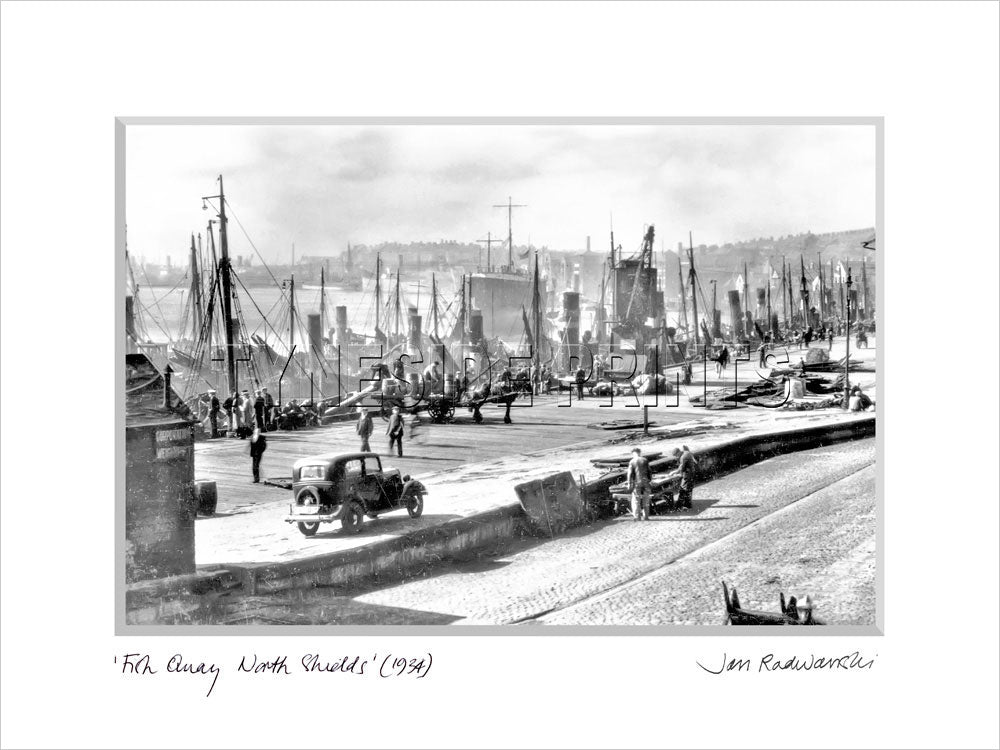 The Fish Quay North Shields 1934 Mounted Fine Art Print