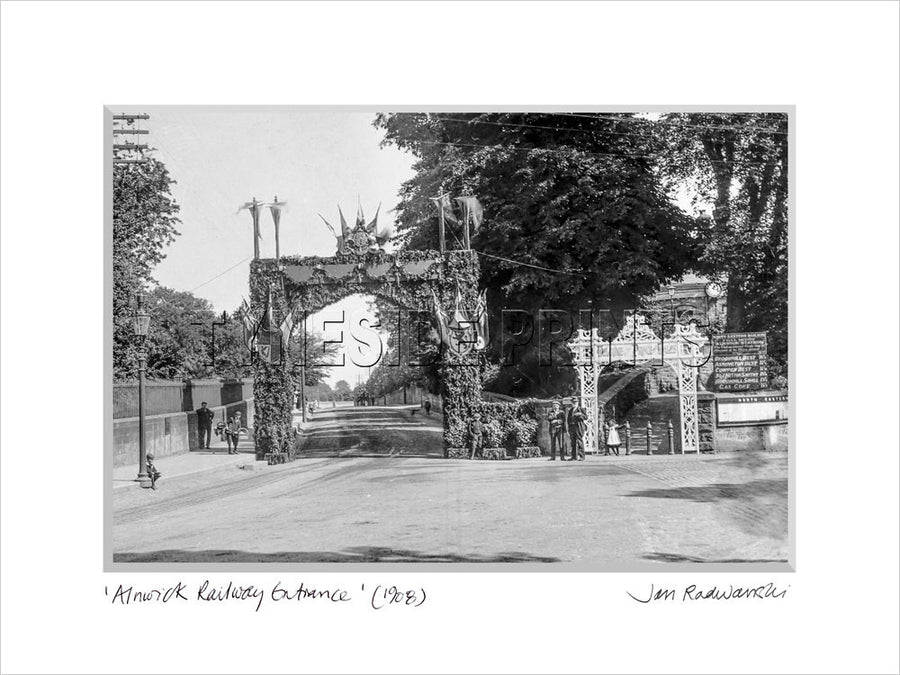Alnwick Railway Station Entrance 1908 Mounted Fine Art Print