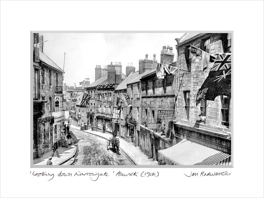 Looking Down Narrowgate Alnwick 1908 Mounted Fine Art Print