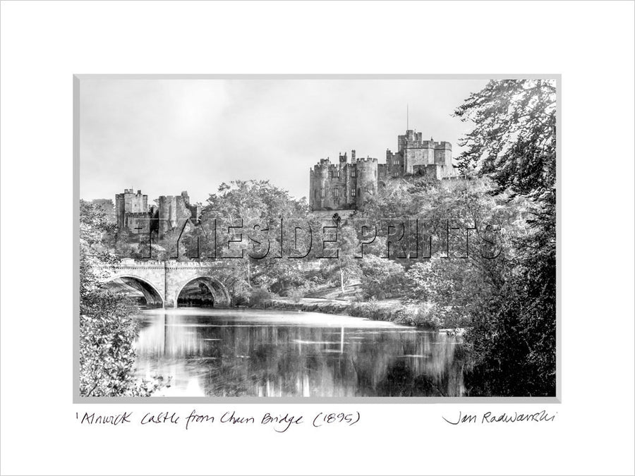 Alnwick Castle from Chain Bridge 1895 Mounted Fine Art Print
