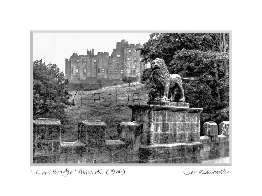 Lion Bridge Alnwick Castle 1924 Mounted Fine Art Print