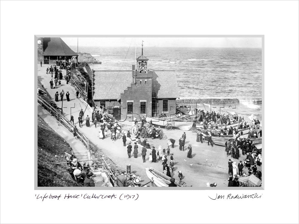 Lifeboat House Cullercoats Bay 1917 - Mounted Fine Art Print