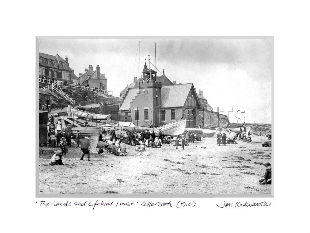 The Sands & Lifeboat House Cullercoats Bay 1910 - Mounted Fine Art Print