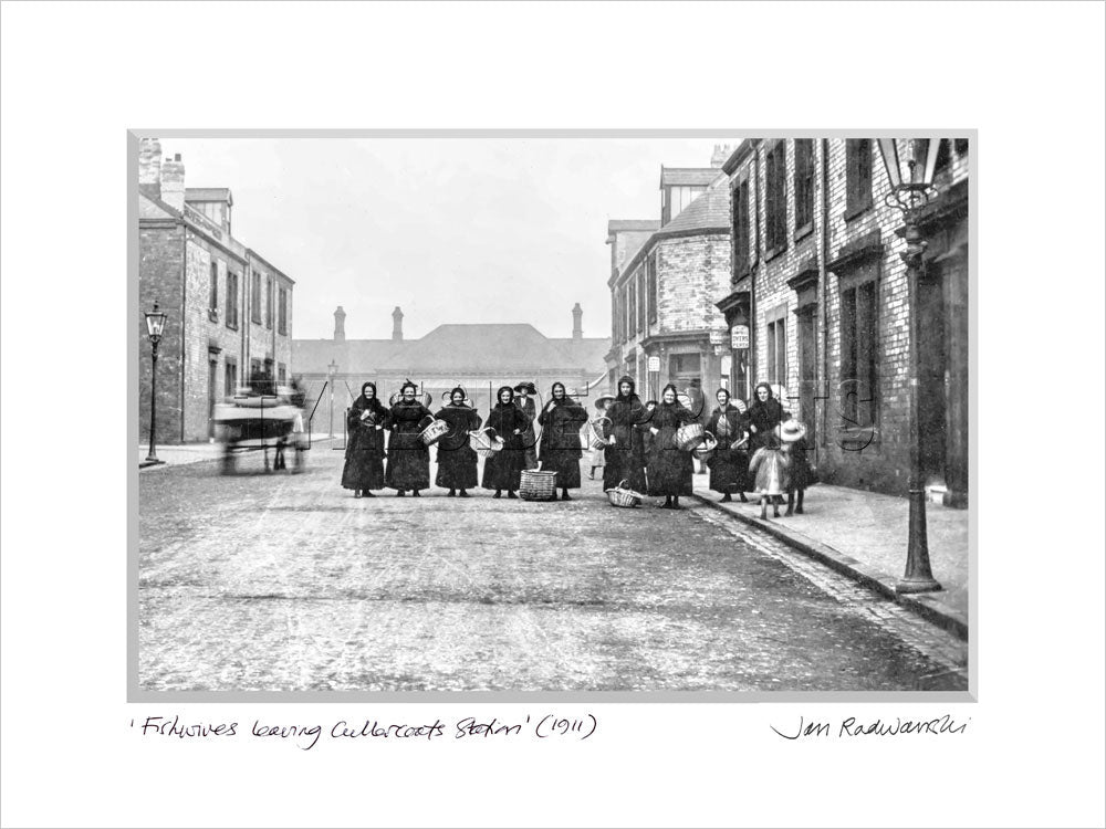 Fishwives Leaving Cullercoats Station 1911 - Mounted Fine Art Print