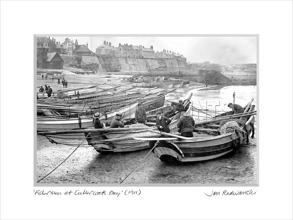 Fishermen at Cullercoats Bay 1911 - Mounted Fine Art Print