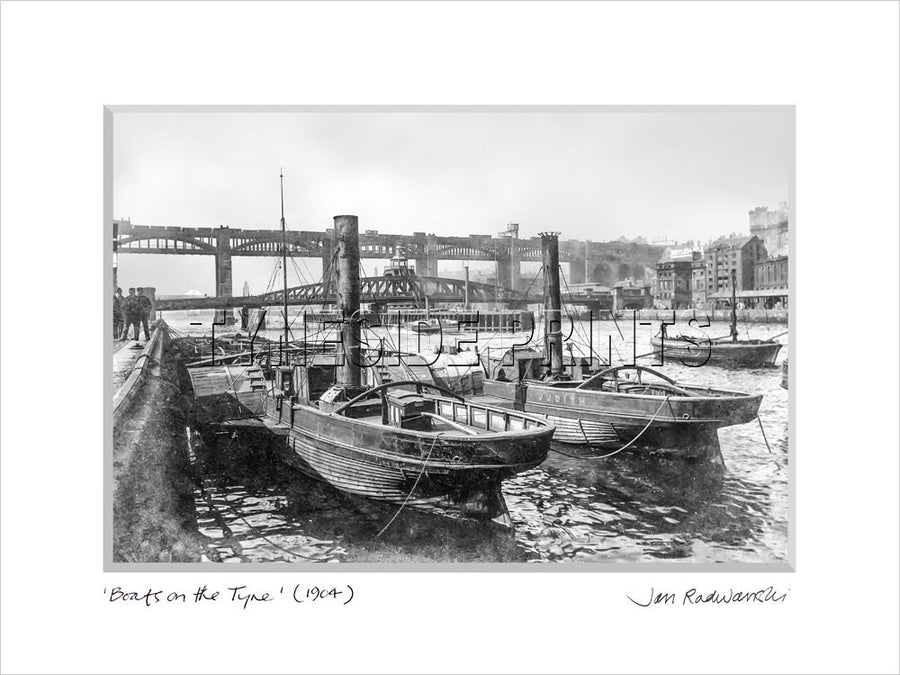 Boats on The Tyne Newcastle 1926 Mounted Fine Art Print