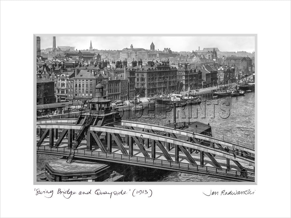 Swing Bridge and Quayside Newcastle 1913 Mounted Fine Art Print