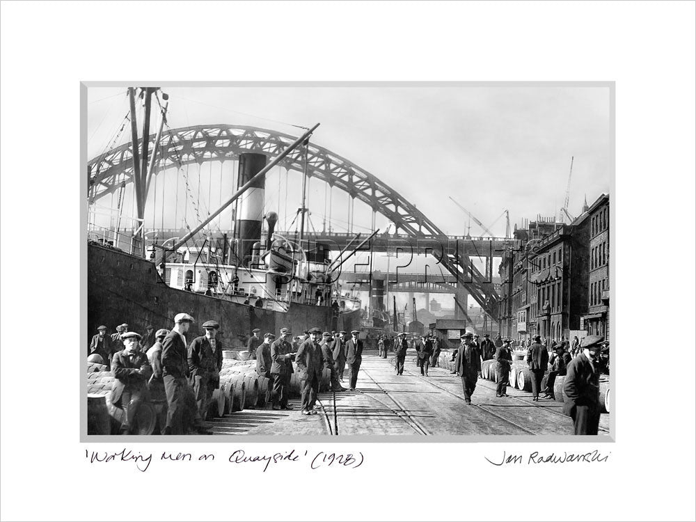 Working Men on Quayside Newcastle 1928 - Mounted Fine Art Print