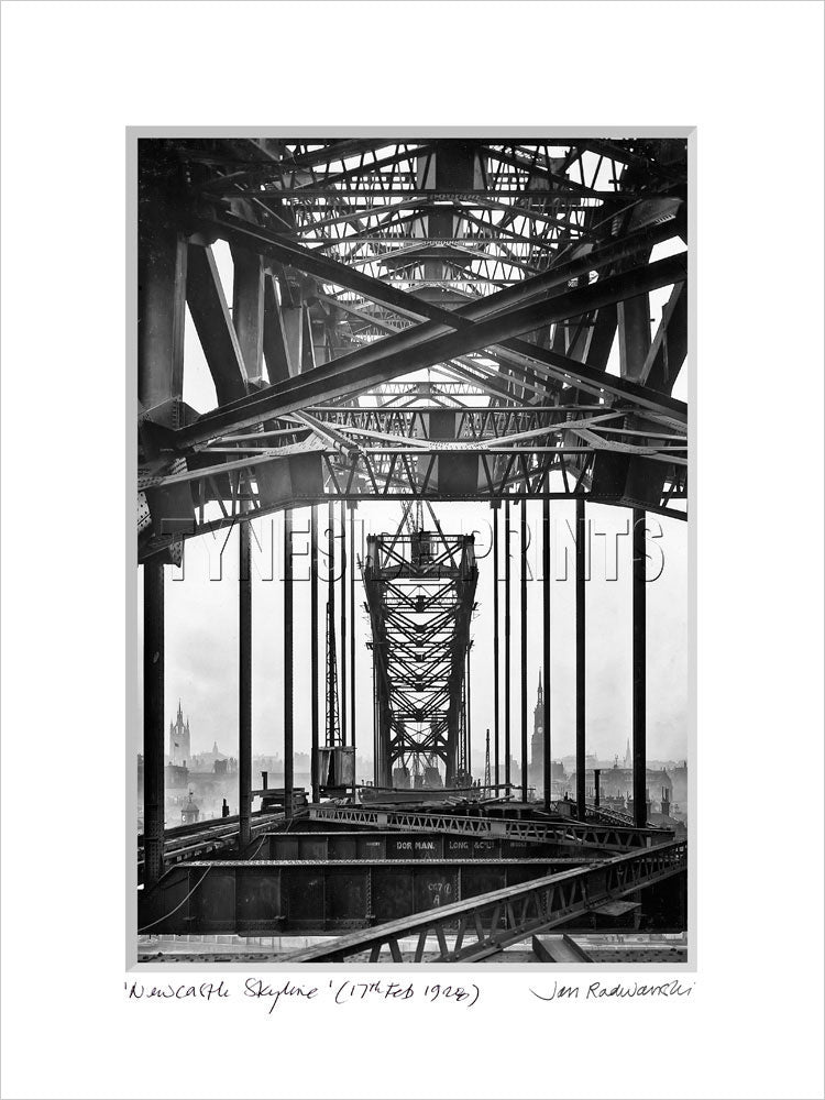 Newcastle Skyline Through Tyne Bridge 1928 - Mounted Fine Art Print