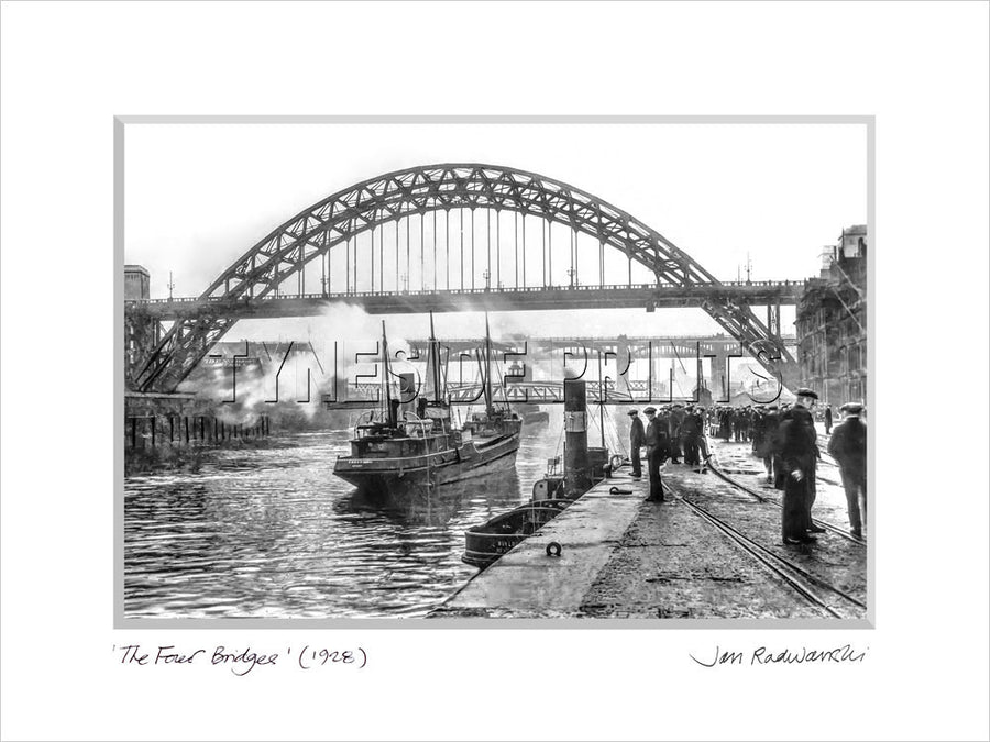 The Four Bridges Newcastle Quayside 1928 - Mounted Fine Art Print
