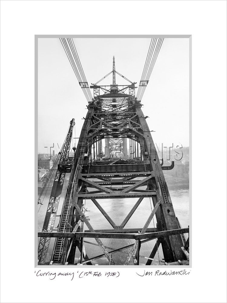 Tyne Bridge Curving Away 1928 - Mounted Fine Art Print