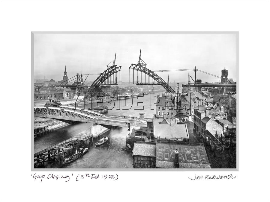 Tyne Bridge Gap Closing 1928 - Mounted Fine Art Print