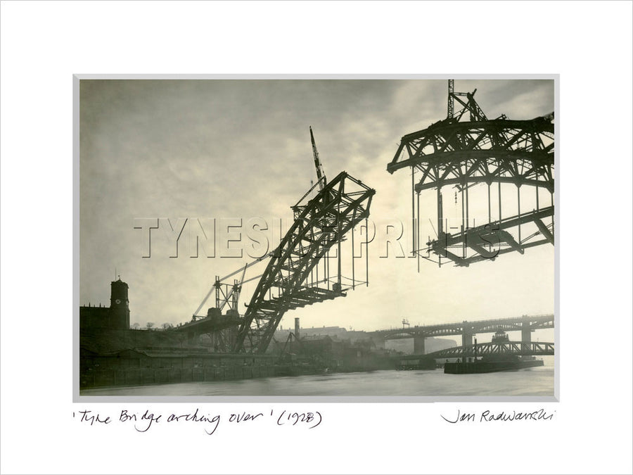 Tyne Bridge Arching Over 1928 Mounted Fine Art Print