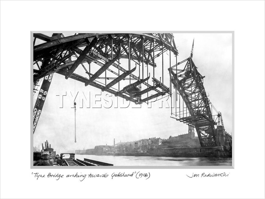 Tyne Bridge arching towards Gateshead 1928 Mounted Fine Art Print