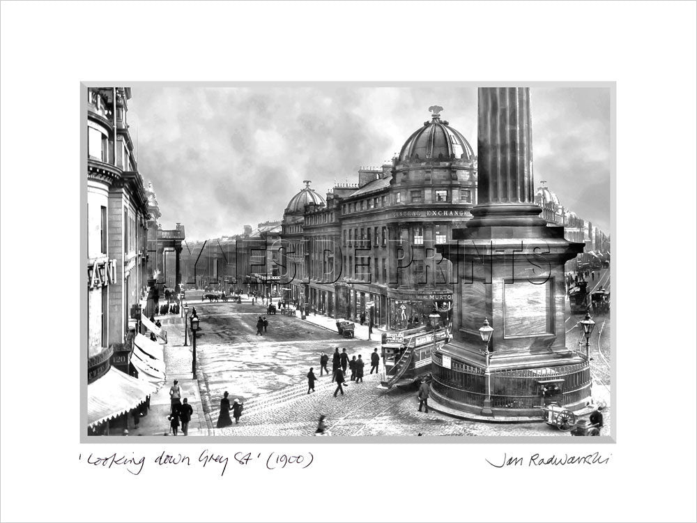 Looking Down Grey Street Newcastle 1900 - Mounted Fine Art Print