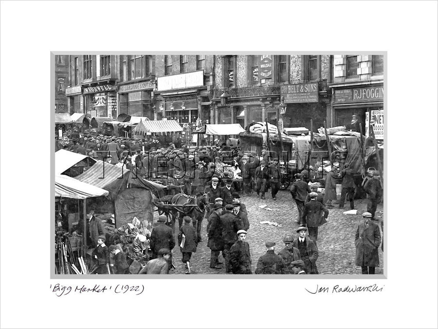 Bigg Market Newcastle 1922 Mounted Fine Art Print