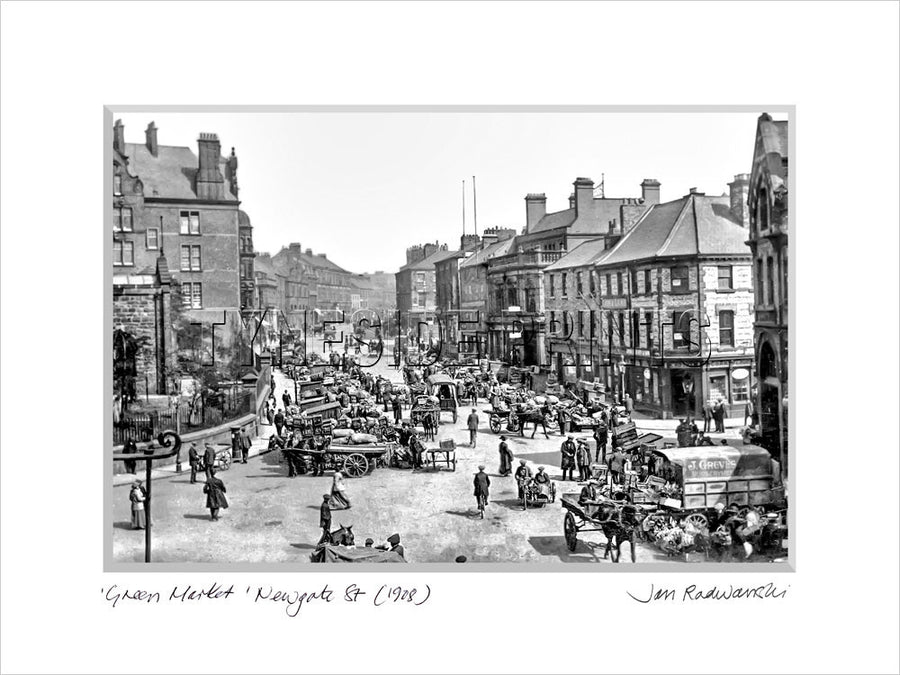 Green Market Newgate Street Newcastle 1908 Mounted Fine Art Print