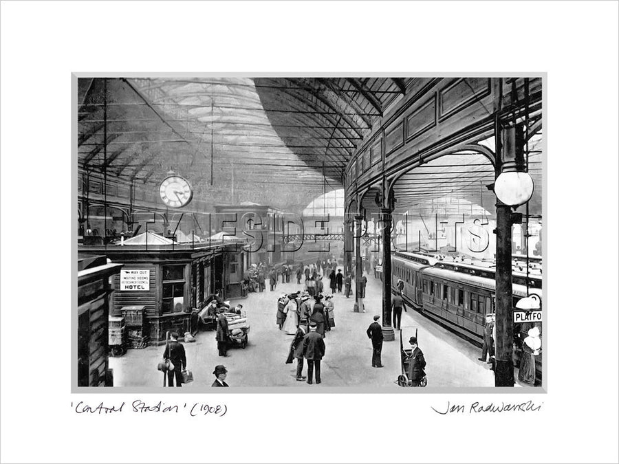 Central Station Newcastle 1908 Mounted Fine Art Print