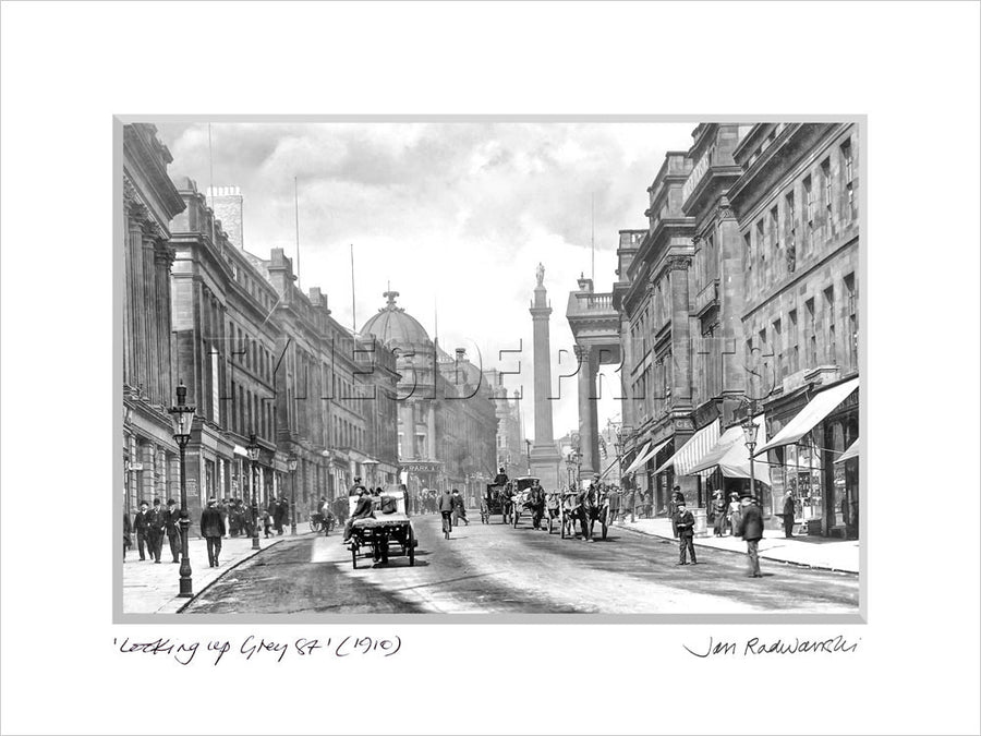 Looking Up Grey Street Newcastle 1910 - Mounted Fine Art Print