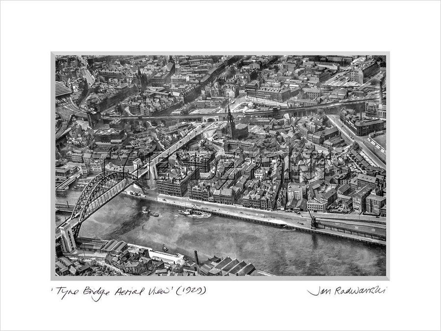 Tyne Bridge Aerial View 1929 - Mounted Fine Art Print