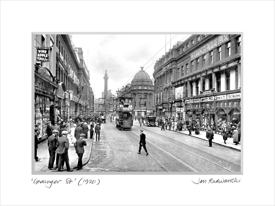 Grainger Street Newcastle 1920 - Mounted Fine Art Print