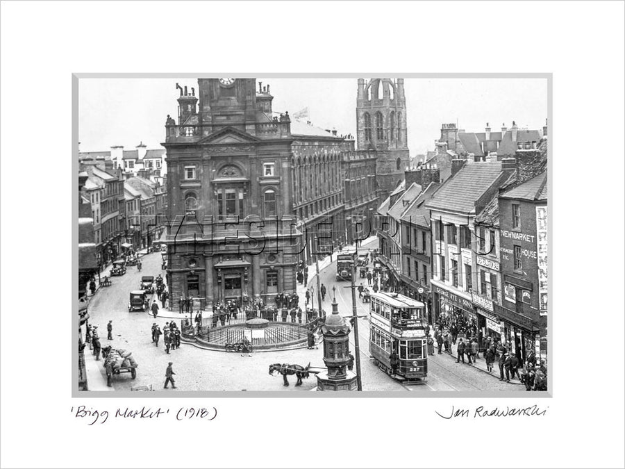 Bigg Market Newcastle 1918 - Mounted Fine Art Print