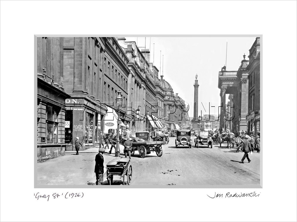 Grey Street Newcastle 1926 - Mounted Fine Art Print