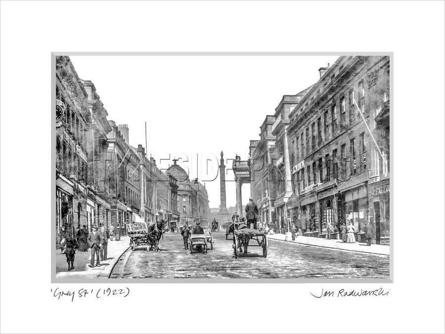 Grey Street Newcastle 1922 Mounted Fine Art Print