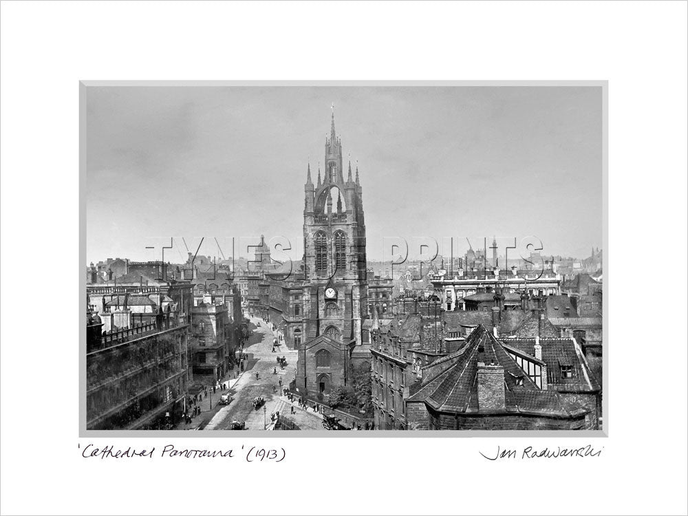 Cathedral Panorama Newcastle 1913 Mounted Fine Art Print