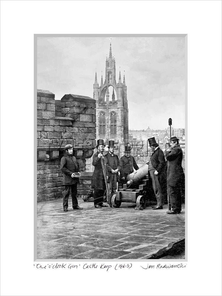 One O'Clock Gun Castle Keep Newcastle 1863 - Mounted Fine Art Print