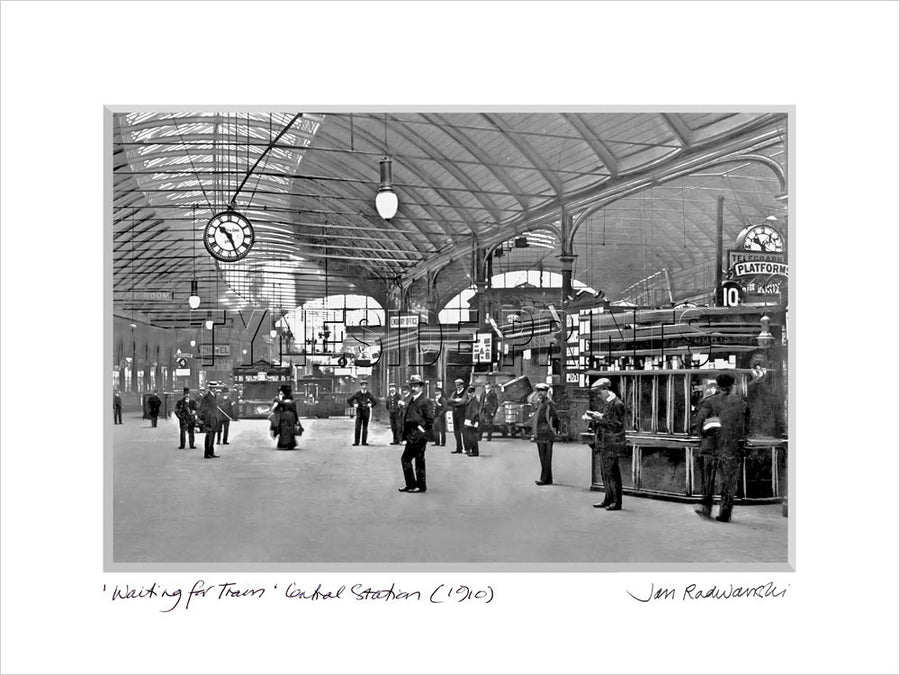 Waiting For Train Central Station Newcastle 1910 - Mounted Fine Art Print