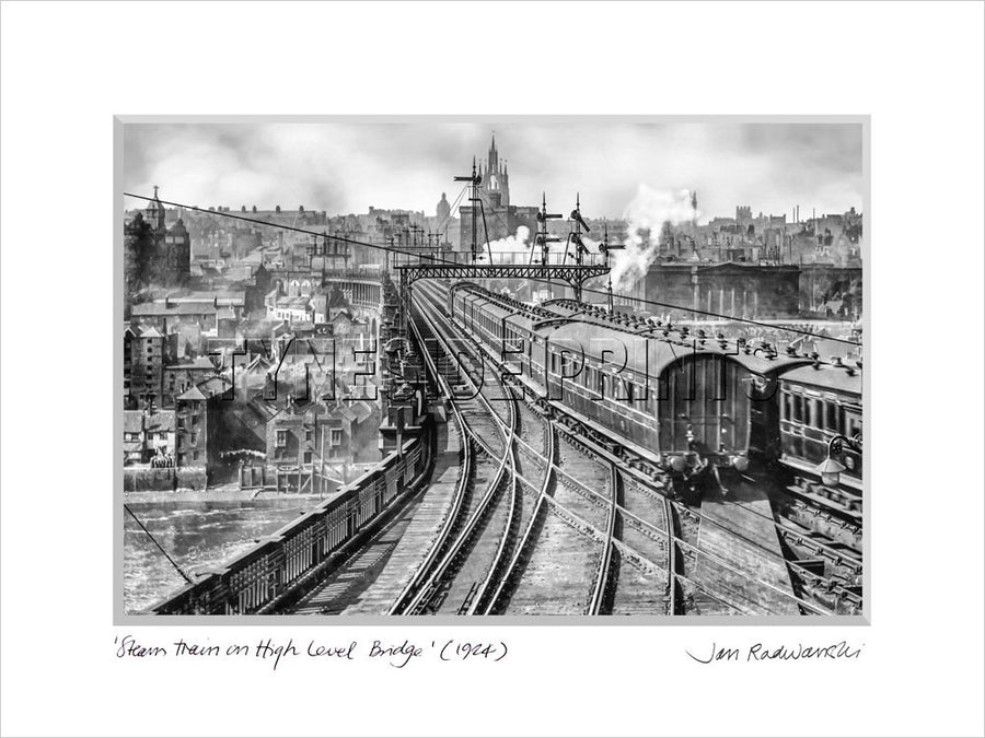 Steam Train on High Level Bridge Newcastle 1924 Mounted Fine Art Print