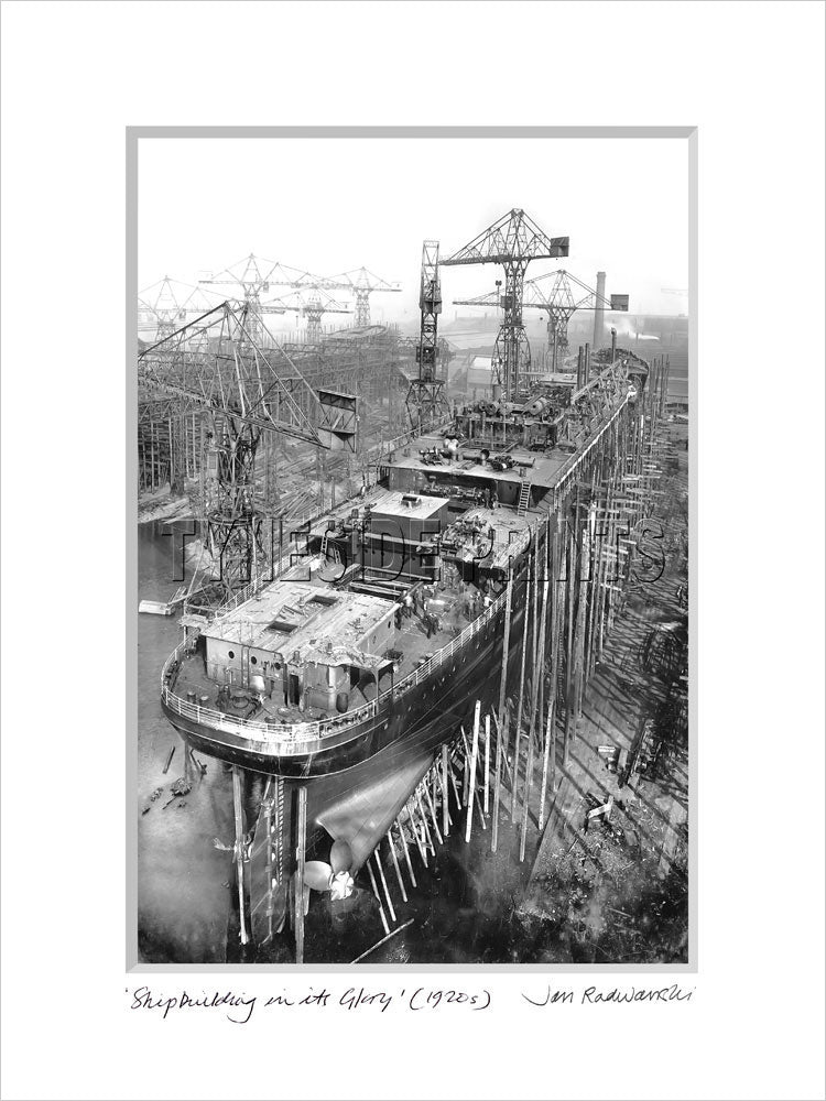 Shipbuilding in it's Glory 1920's Mounted Fine Art Print