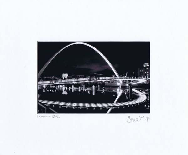 Millennium Bridge | Black & White Photographic Mounted Print | Tyneside Prints