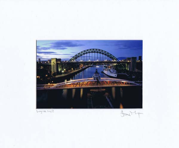 Newcastle Bridges At Night | Colour Photographic Mounted Print | Tyneside Prints