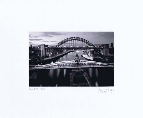Newcastle bridges at night black white photographic mounted print