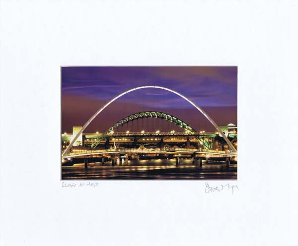 Newcastle Quayside At Night | Colour Photographic Mounted Print | Tyneside Prints
