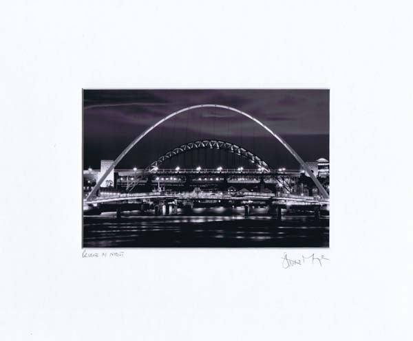 Newcastle Quayside At Night | Black & White Photographic Mounted Print | Tyneside Prints