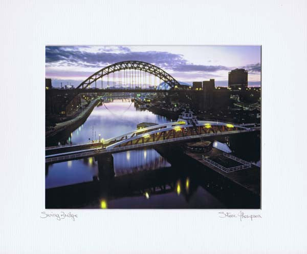Tyne Bridge & Swing Bridge | Colour Photographic Mounted Print | Tyneside Prints