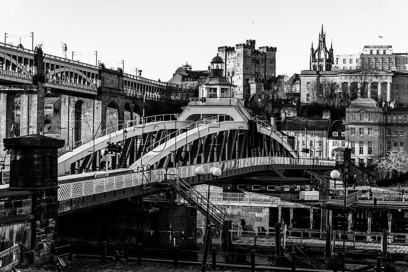 Swing Bridge and Castle Keep Photographic Print