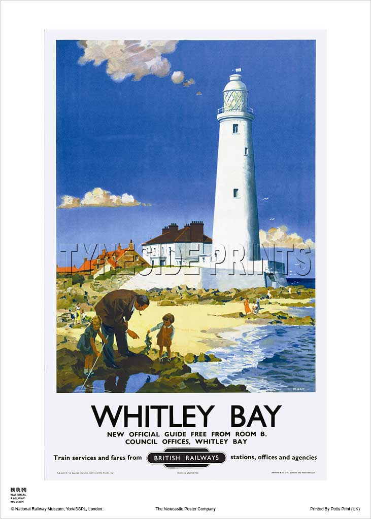St Mary's Lighthouse Whitley Bay Railway Travel Poster