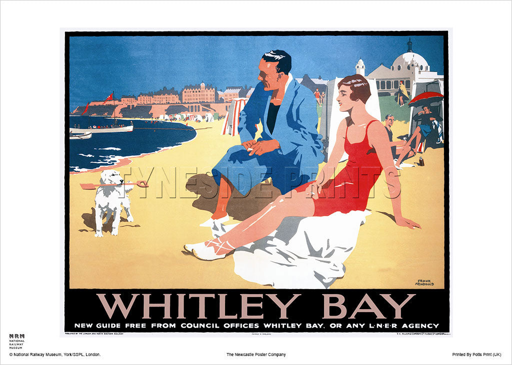 Whitley Bay Beach Railway Travel Poster