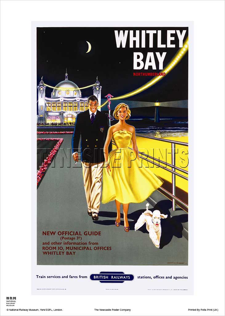 Promenade Whitley Bay Railway Travel Poster