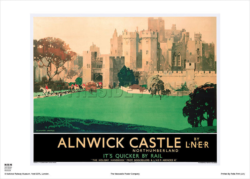 Alnwick Castle - Northumberland - Railway Travel Poster
