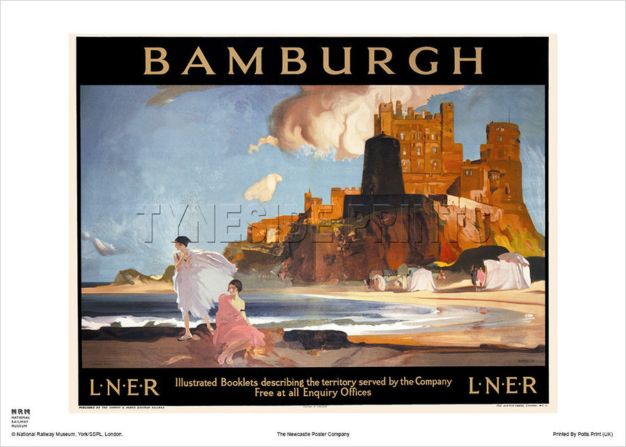 Bamburgh Castle Northumberland Railway Travel Poster