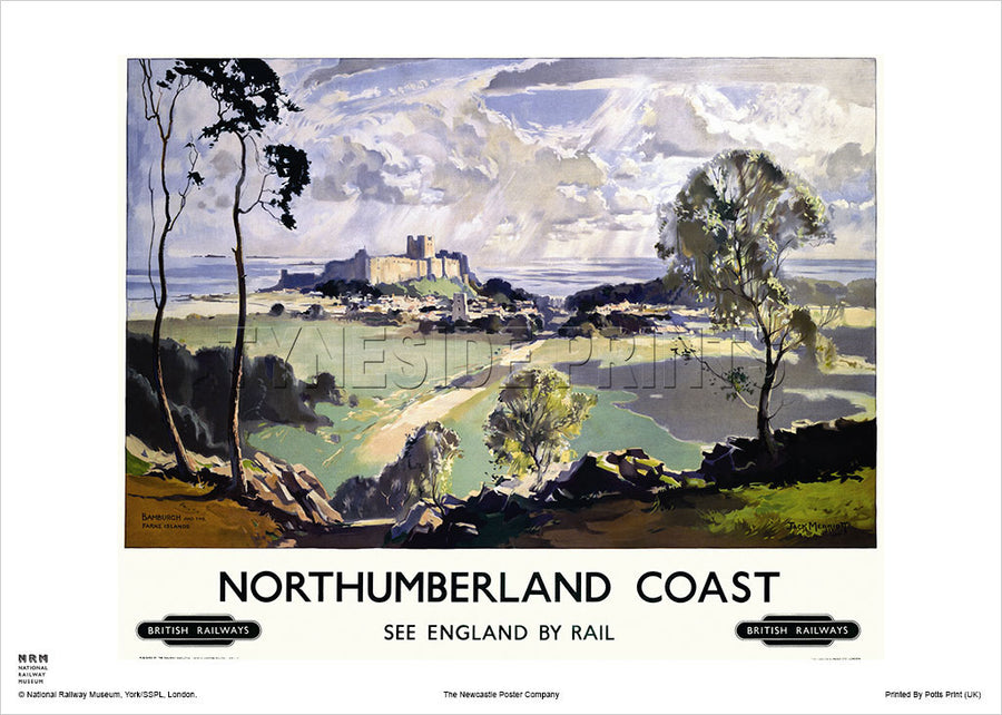 Northumberland Coast Bamburgh Castle Railway Travel Poster