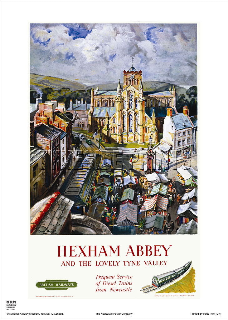Hexham Abbey - Tyne Valley - Railway Travel Poster