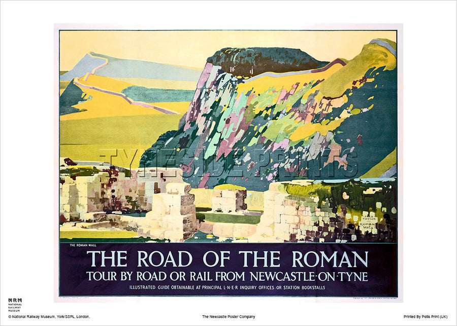 Hadrian's Wall Northumberland Railway Travel Poster
