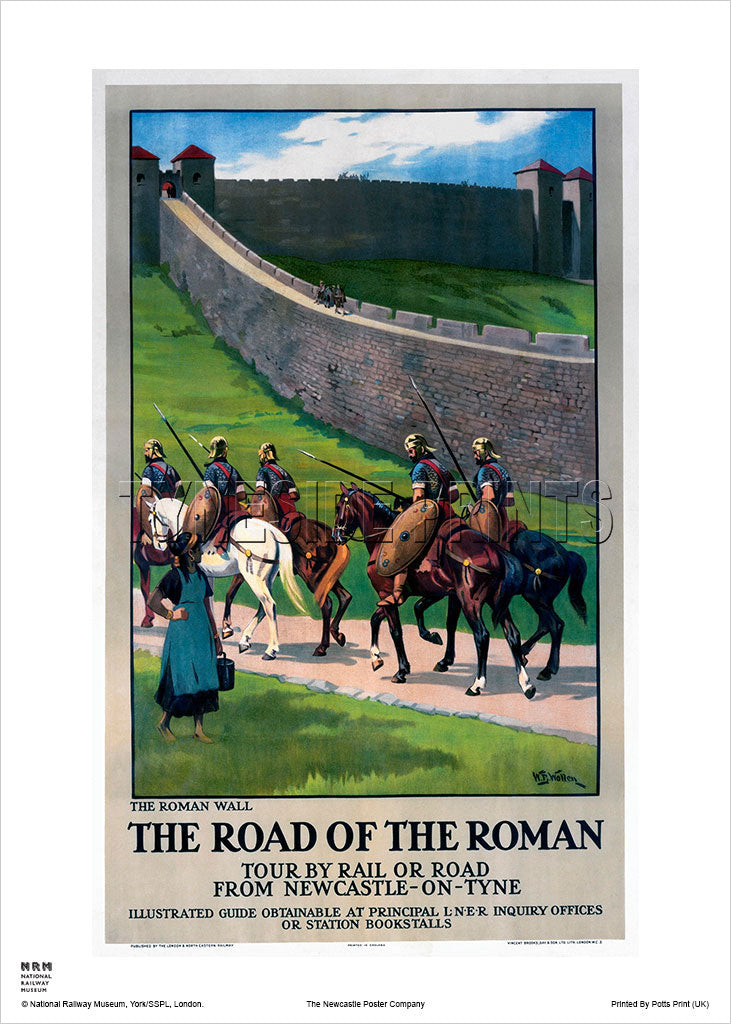 The Roman Wall Soldiers - Northumberland - Railway Travel Poster